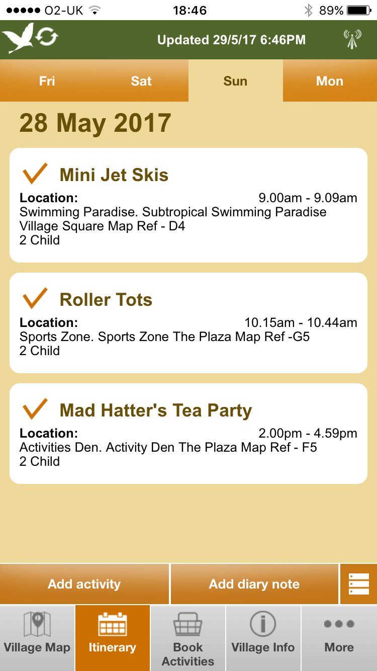 Center Parcs app screen shot from smart phone