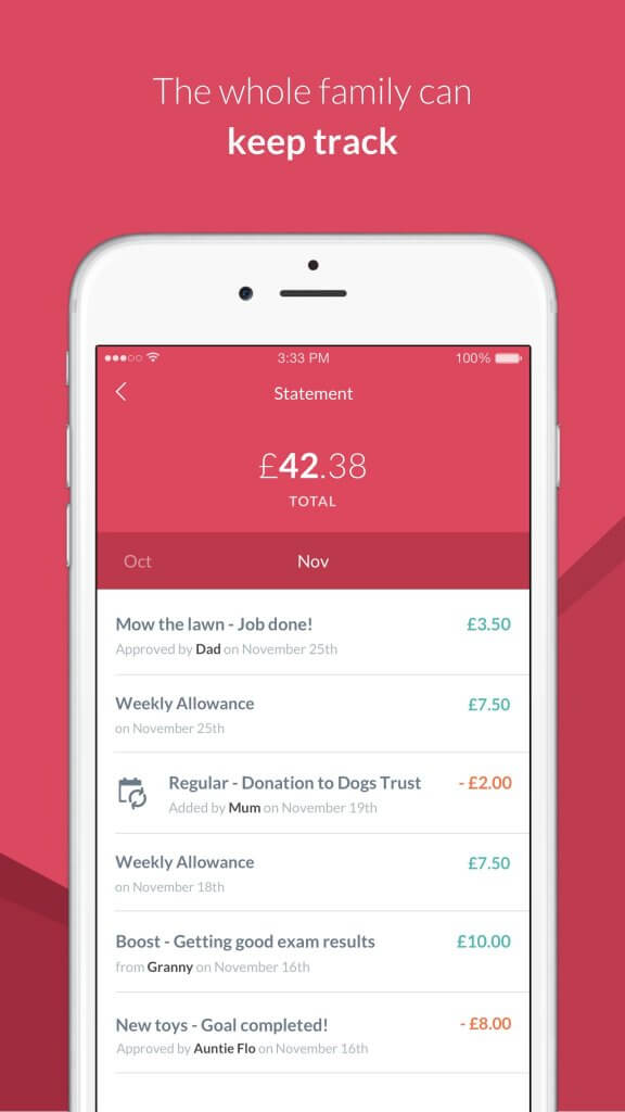 RoosterMoney pocket money app tracking screen