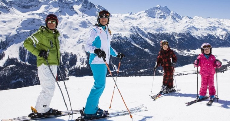 Family enjoying skiing