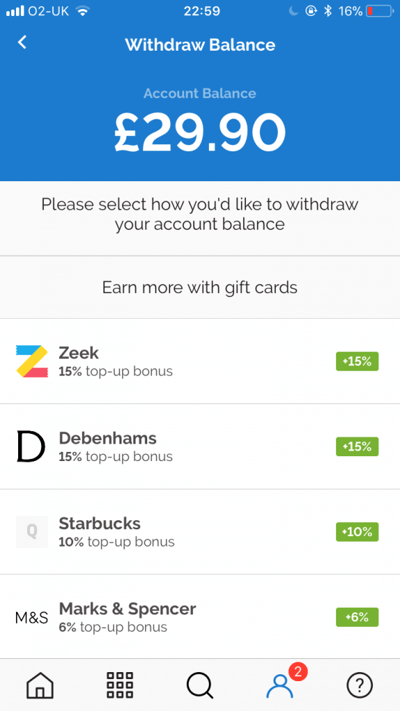 My Quidco balance with Zeek withdrawal credit