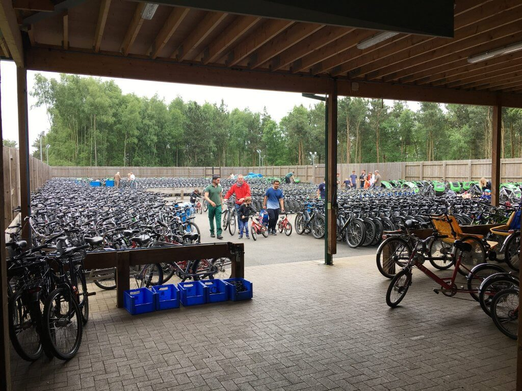 Center Parcs bike hire - Rows and rows of bikes at Center Parcs Woburn Forest for hire