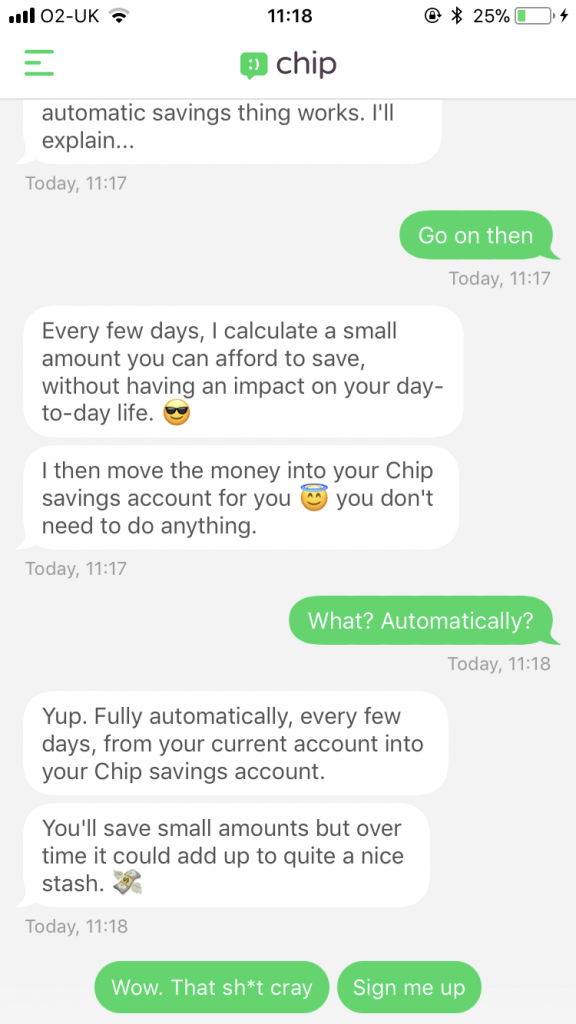 Screen shot of Chip interactive chat bot having a conversation