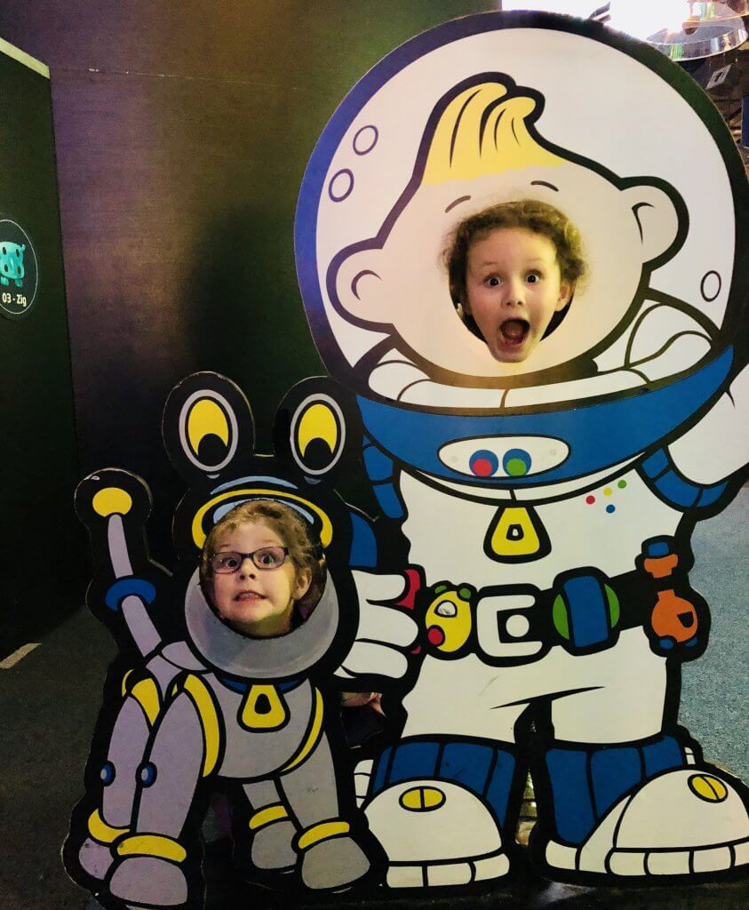 Kids playing at astronauts at National Space Centre