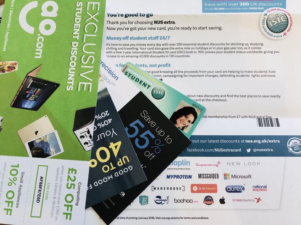 NUS card and freebie vouchers