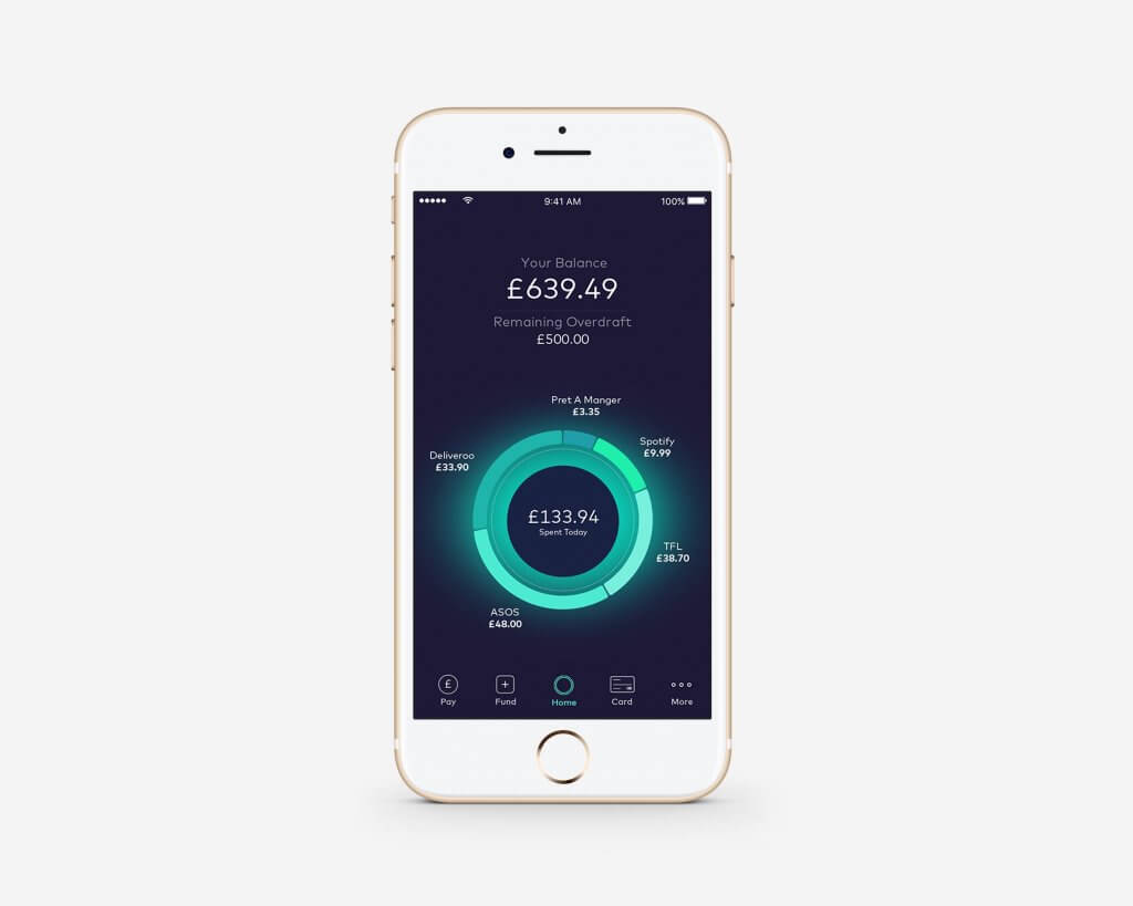 Starling Bank smartphone bank app with real time data
