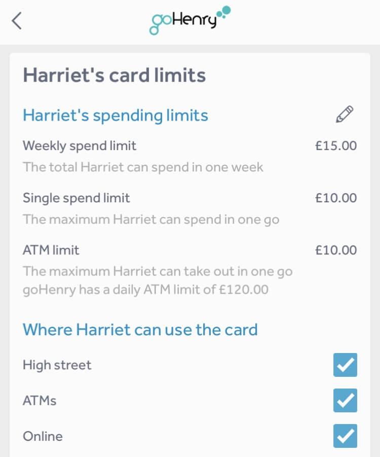 goHenry prepaid card for children - spending limits screen shot