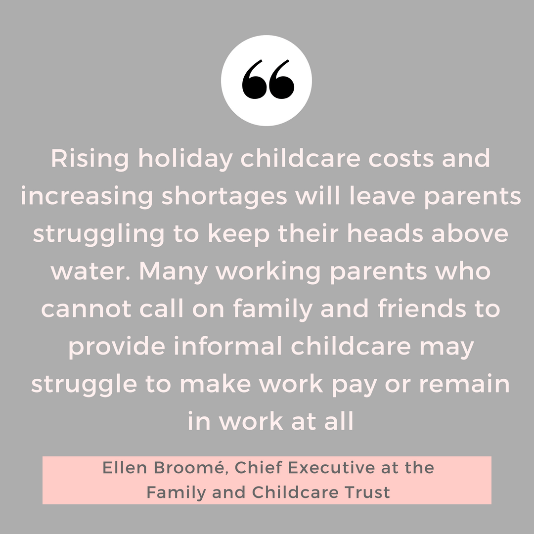 Quote on the cost of childcare in school holidays