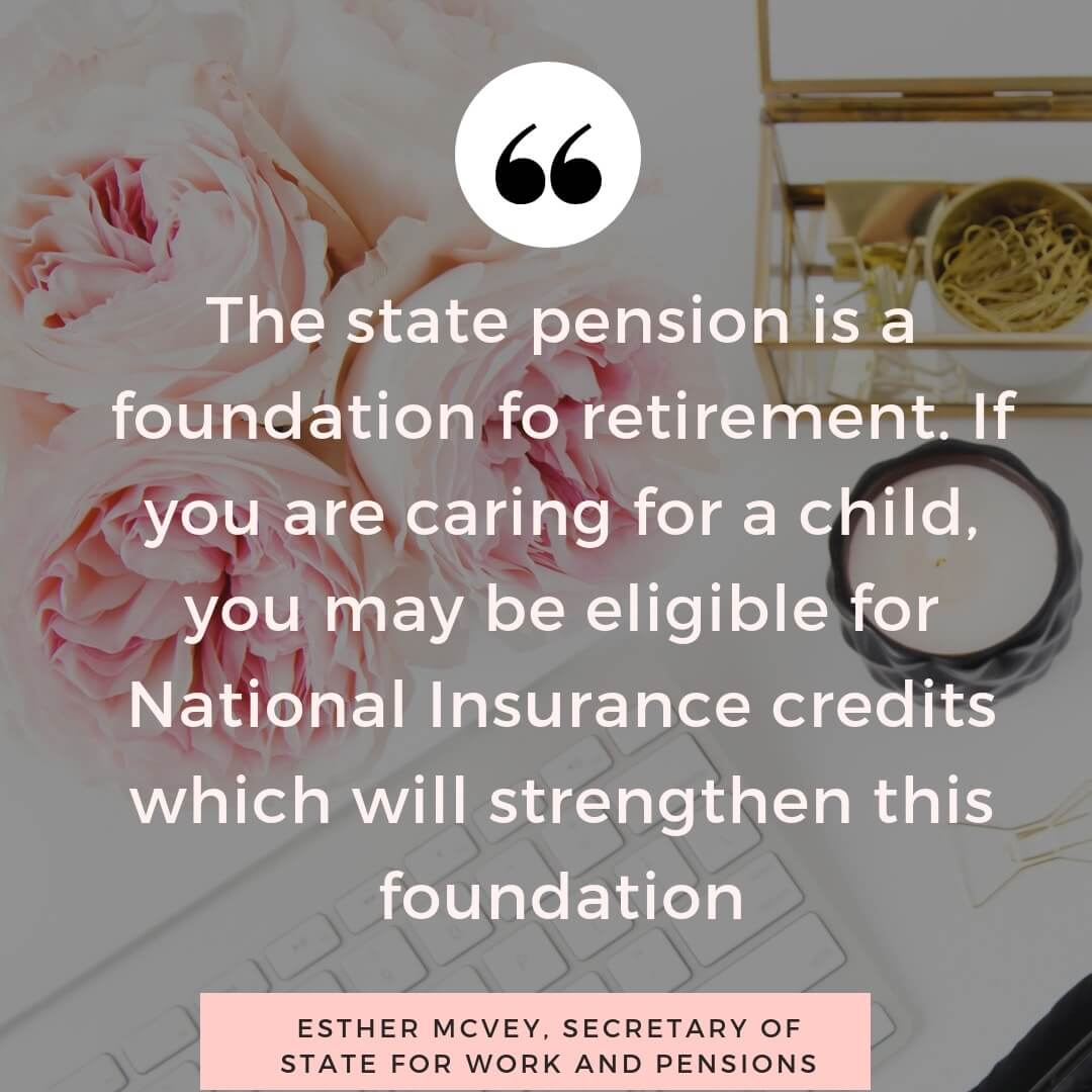 Child benefit and state pension national insurance credits - quote by Esther McVey