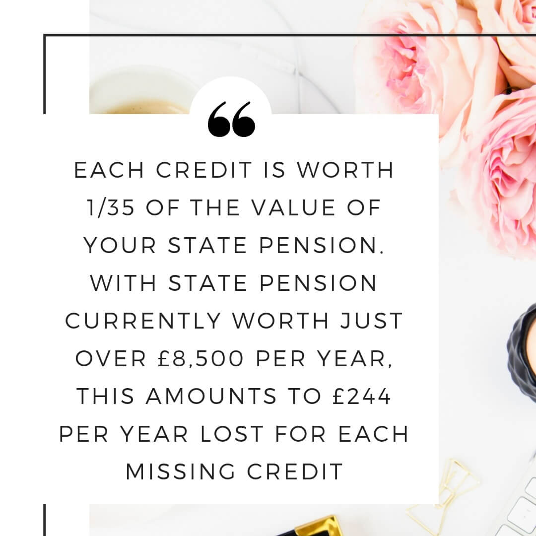 State pension credits are worth 1/35 of the value of your state pension