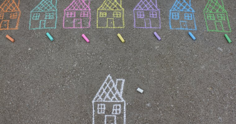 Houses on pavement in chalk