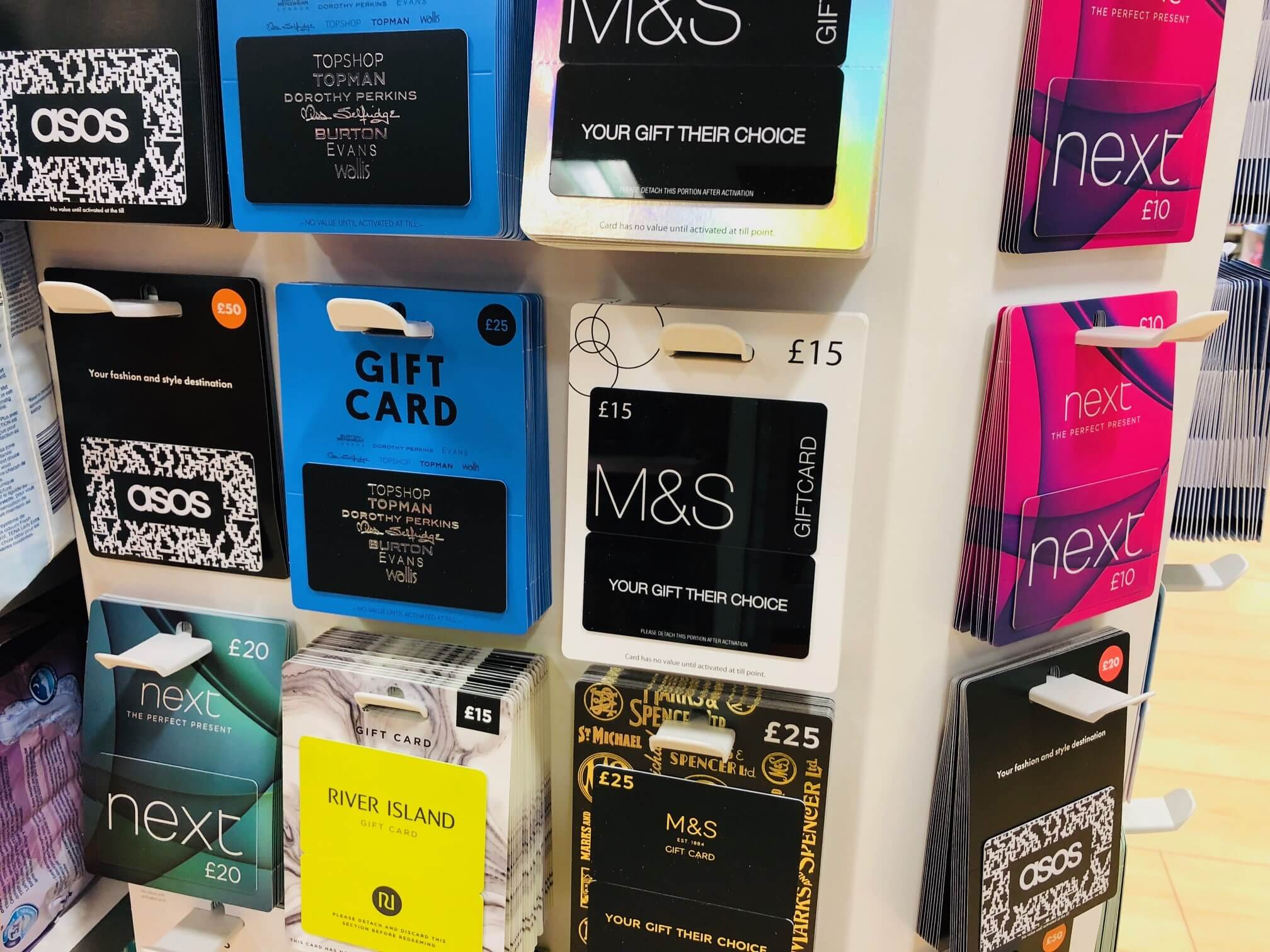 Gift cards sold in a store - the best gift cards
