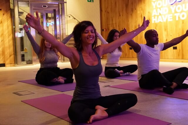 Yoga in a bank - at B Works Manchester