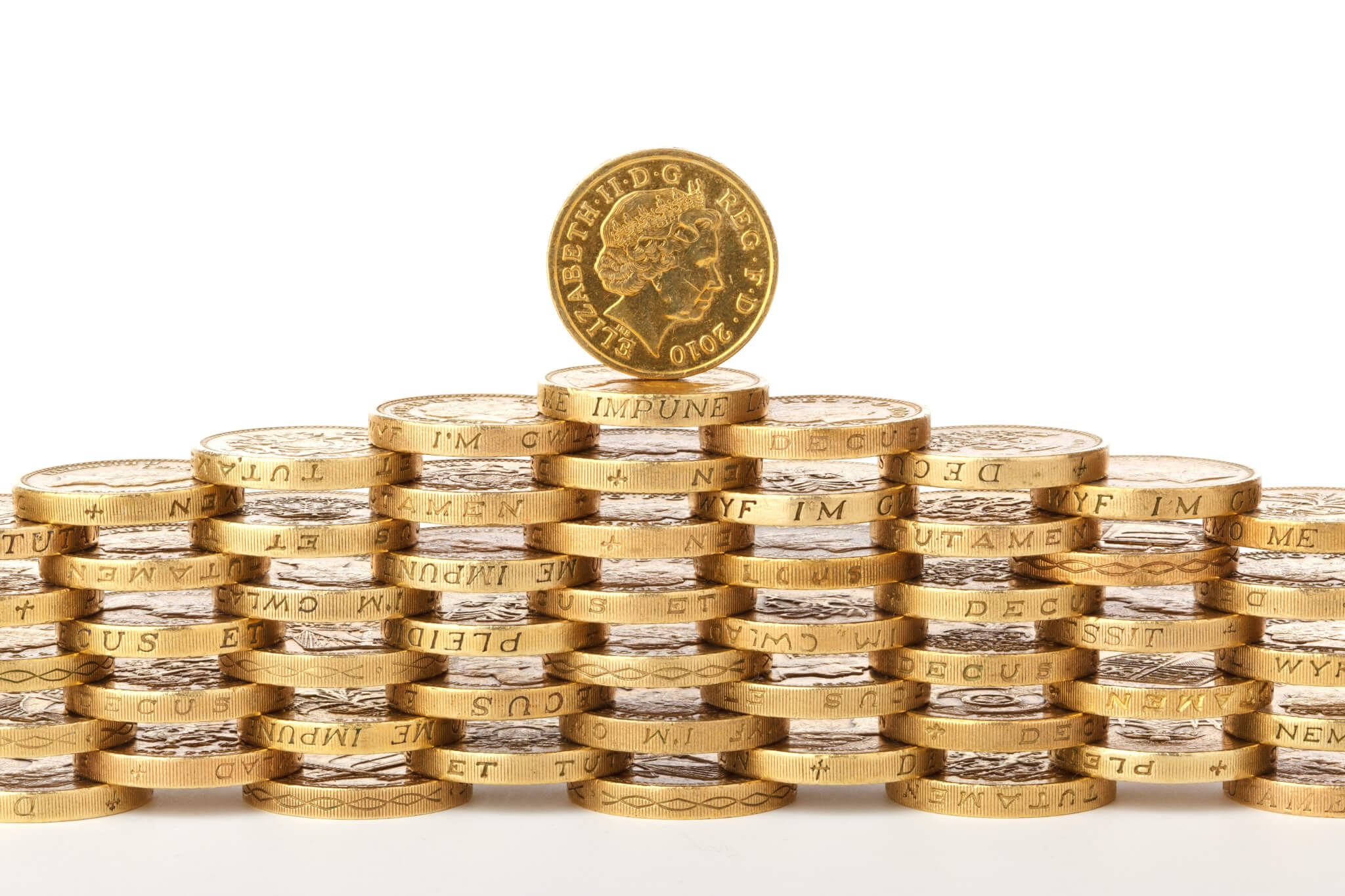 inflation and savings - piles of pound coins