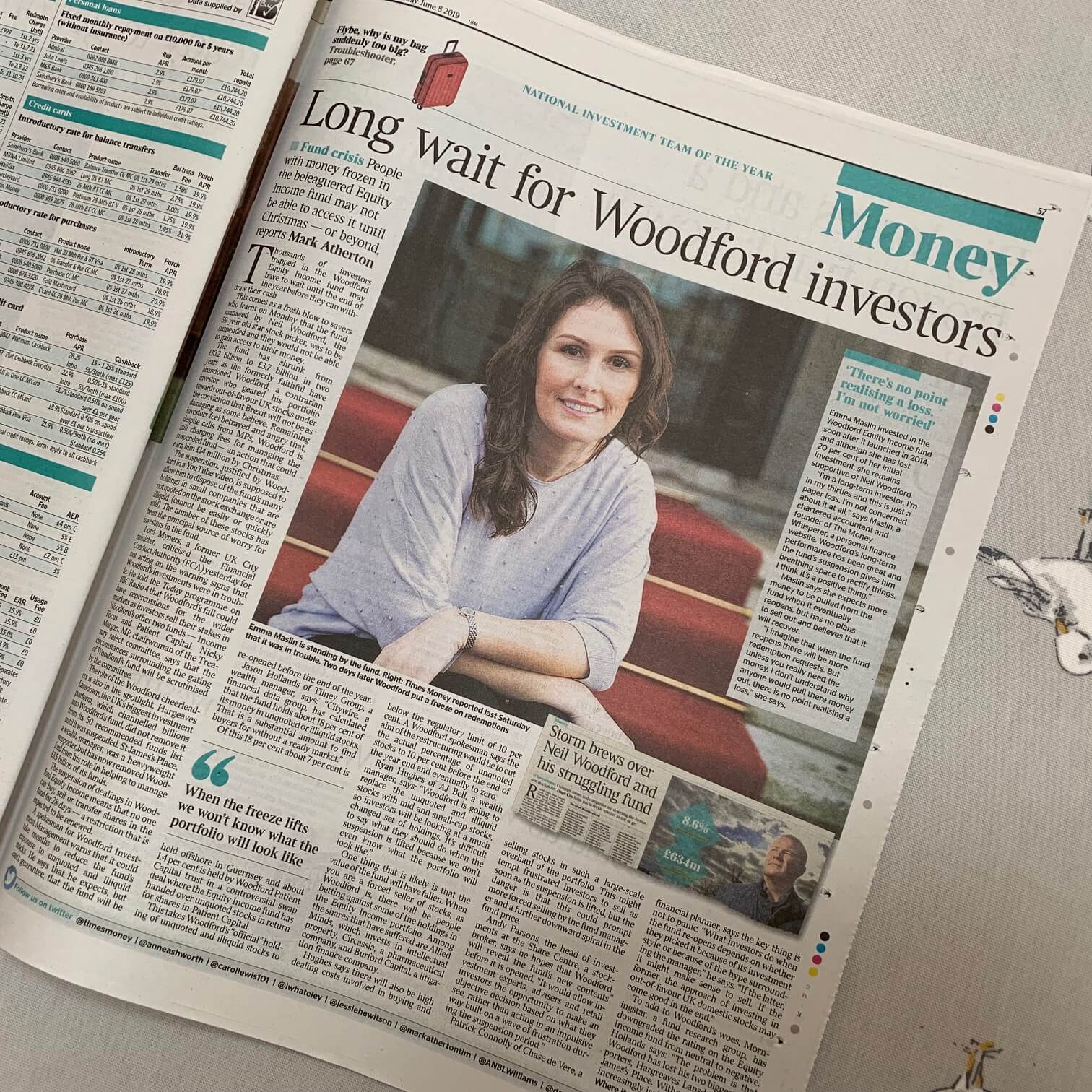 Emma Maslin - UK Money Coach - interview for The Times